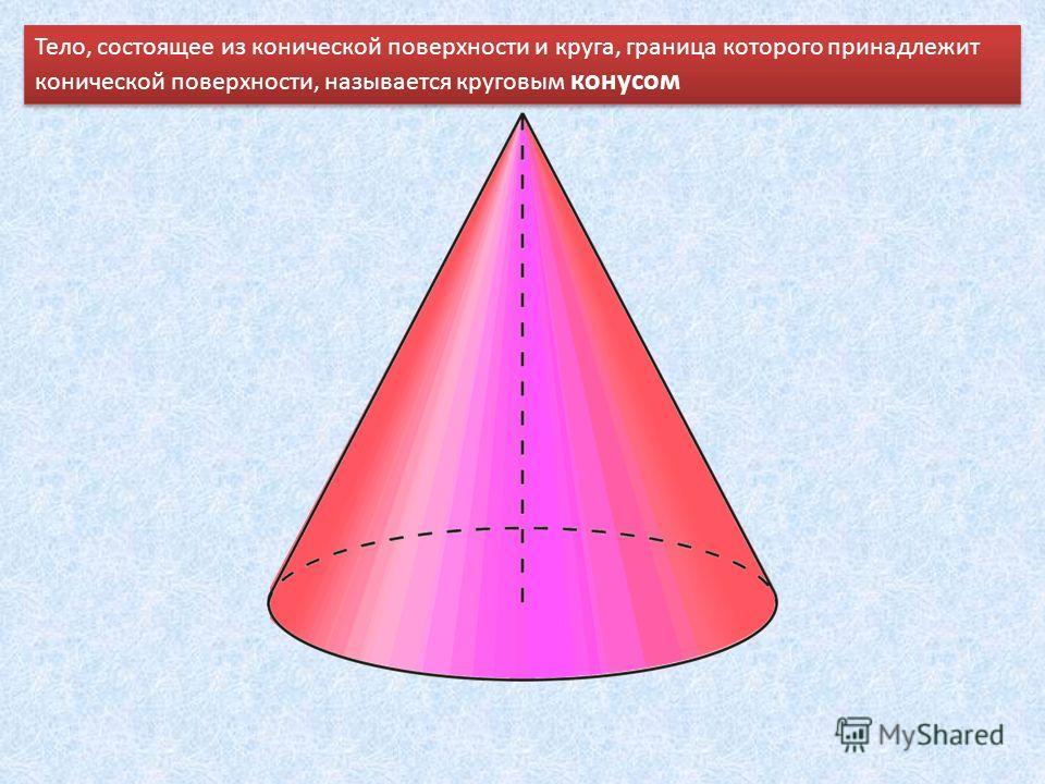 Тело, состоящее из конической поверхности и круга, граница которого принадлежит конической поверхности, называется круговым конусом