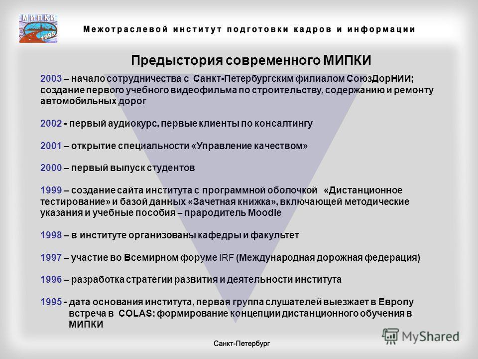 2003 – начало сотрудничества с Санкт-Петербургским филиалом СоюзДорНИИ; создание первого учебного видеофильма по строительству, содержанию и ремонту автомобильных дорог 2002 - первый аудиокурс, первые клиенты по консалтингу 2001 – открытие специально