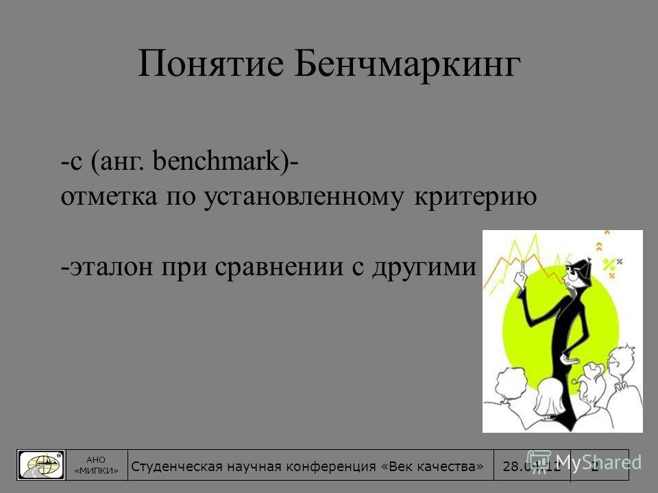 Понятие Бенчмаркинг -с (анг. benchmark)- отметка по установленному критерию -эталон при сравнении с другими АНО «МИПКИ» 228.04.12Студенческая научная конференция «Век качества»