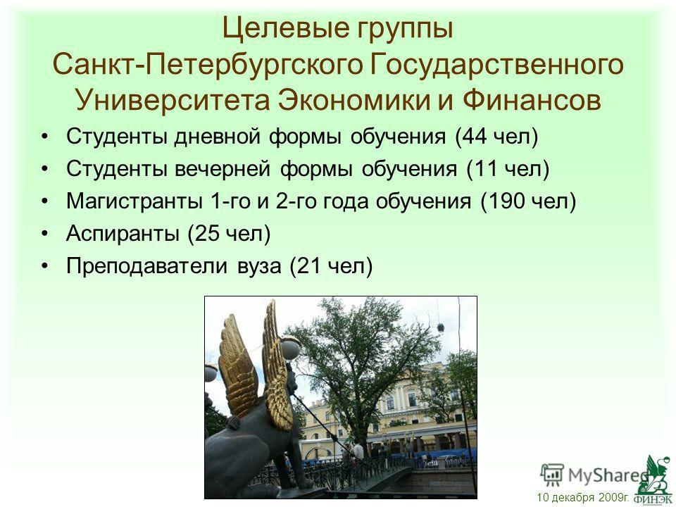 Целевые группы Санкт-Петербургского Государственного Университета Экономики и Финансов Студенты дневной формы обучения (44 чел) Студенты вечерней формы обучения (11 чел) Магистранты 1-го и 2-го года обучения (190 чел) Аспиранты (25 чел) Преподаватели