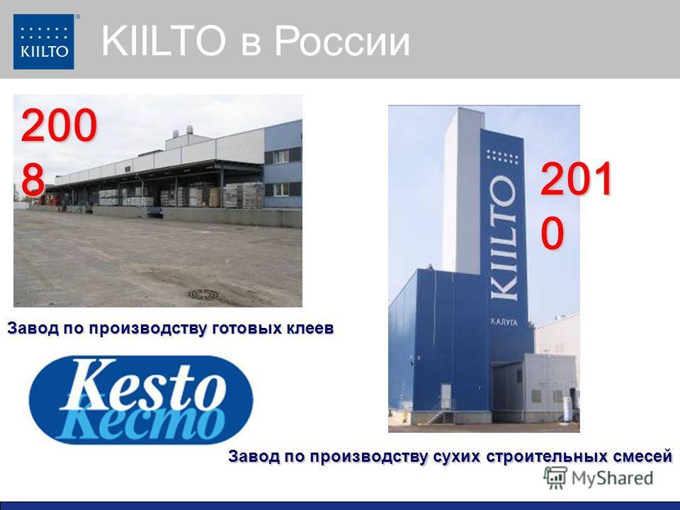 KIILTO в России Завод по производству сухих строительных смесей Завод по производству готовых клеев 200 8 201 0