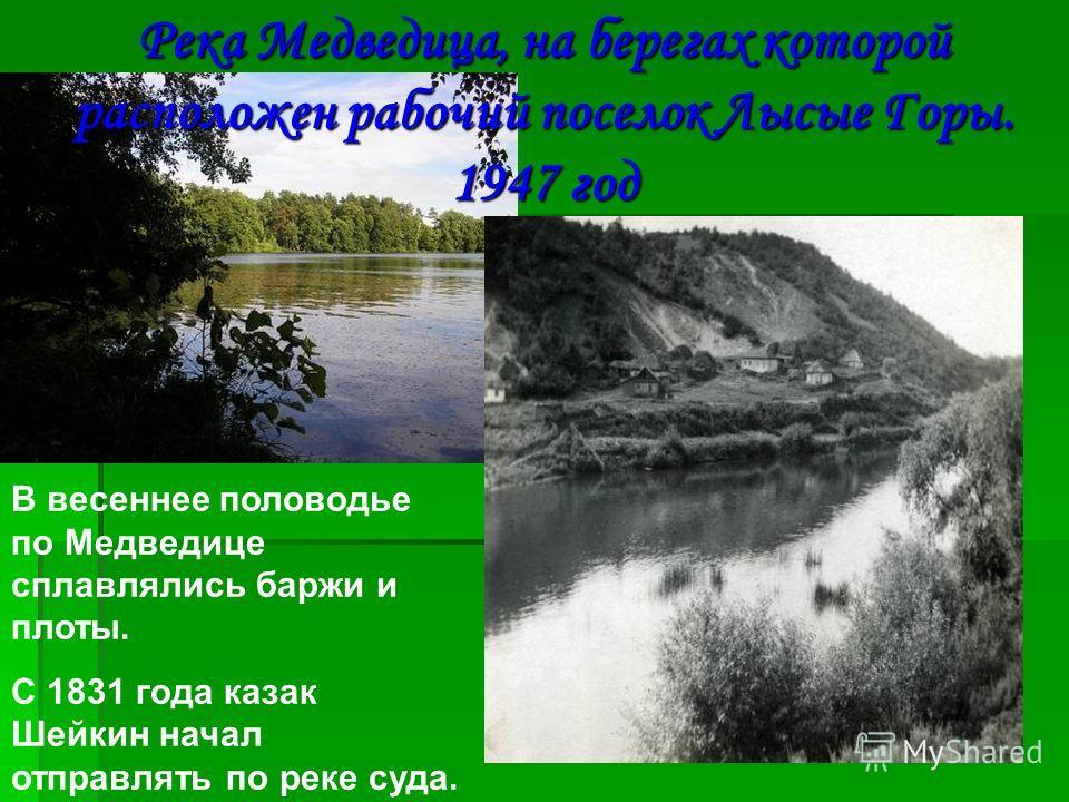 Река Медведица, на берегах которой расположен рабочий поселок Лысые Горы. 1947 год В весеннее половодье по Медведице сплавлялись баржи и плоты. С 1831 года казак Шейкин начал отправлять по реке суда.