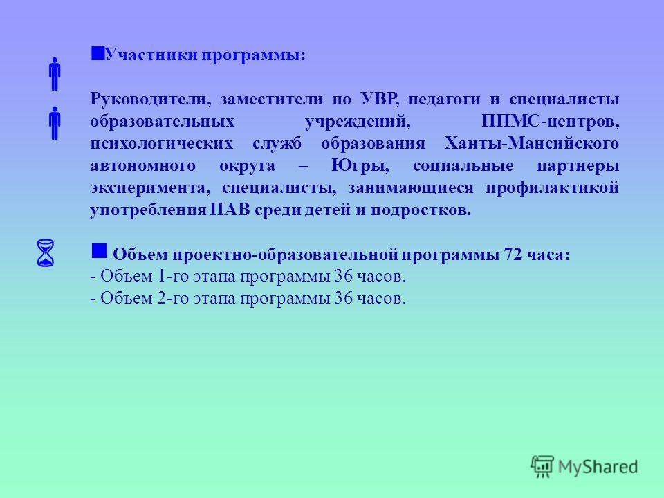 Участники программы: Руководители, заместители по УВР, педагоги и специалисты образовательных учреждений, ППМС-центров, психологических служб образования Ханты-Мансийского автономного округа – Югры, социальные партнеры эксперимента, специалисты, зани