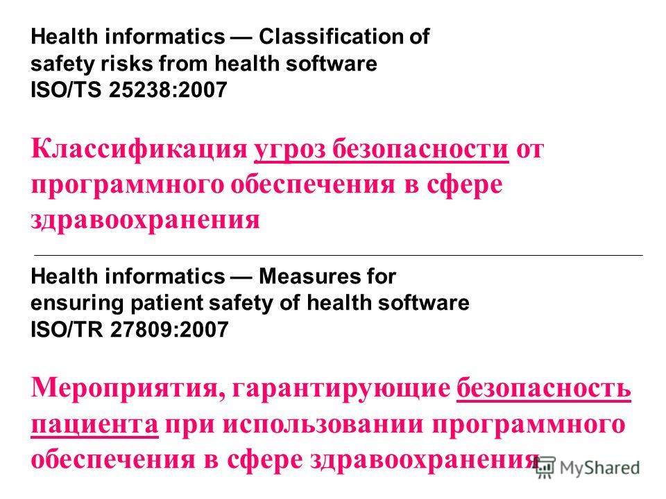 Health informatics Classification of safety risks from health software ISO/TS 25238:2007 Классификация угроз безопасности от программного обеспечения в сфере здравоохранения Health informatics Measures for ensuring patient safety of health software I