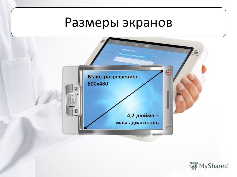Размеры экранов Макс. разрешение: 800x480 4,2 дюйма – макс. диагональ