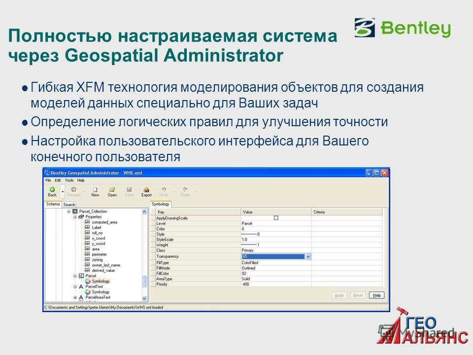 Полностью настраиваемая система через Geospatial Administrator Гибкая XFM технология моделирования объектов для создания моделей данных специально для Ваших задач Определение логических правил для улучшения точности Настройка пользовательского интерф