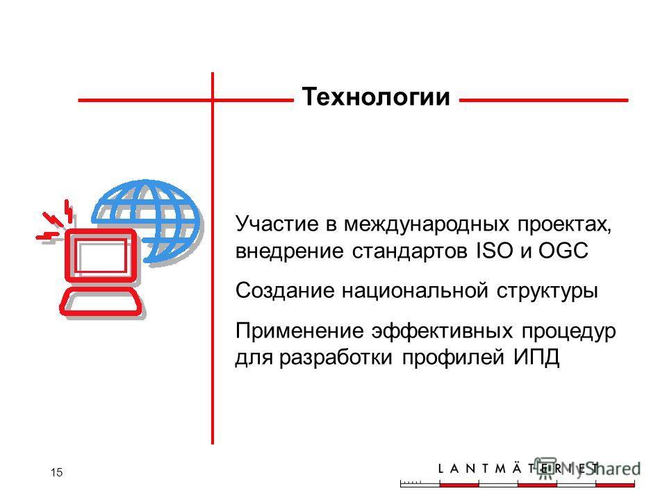 15 Участие в международных проектах, внедрение стандартов ISO и OGC Создание национальной структуры Применение эффективных процедур для разработки профилей ИПД Технологии