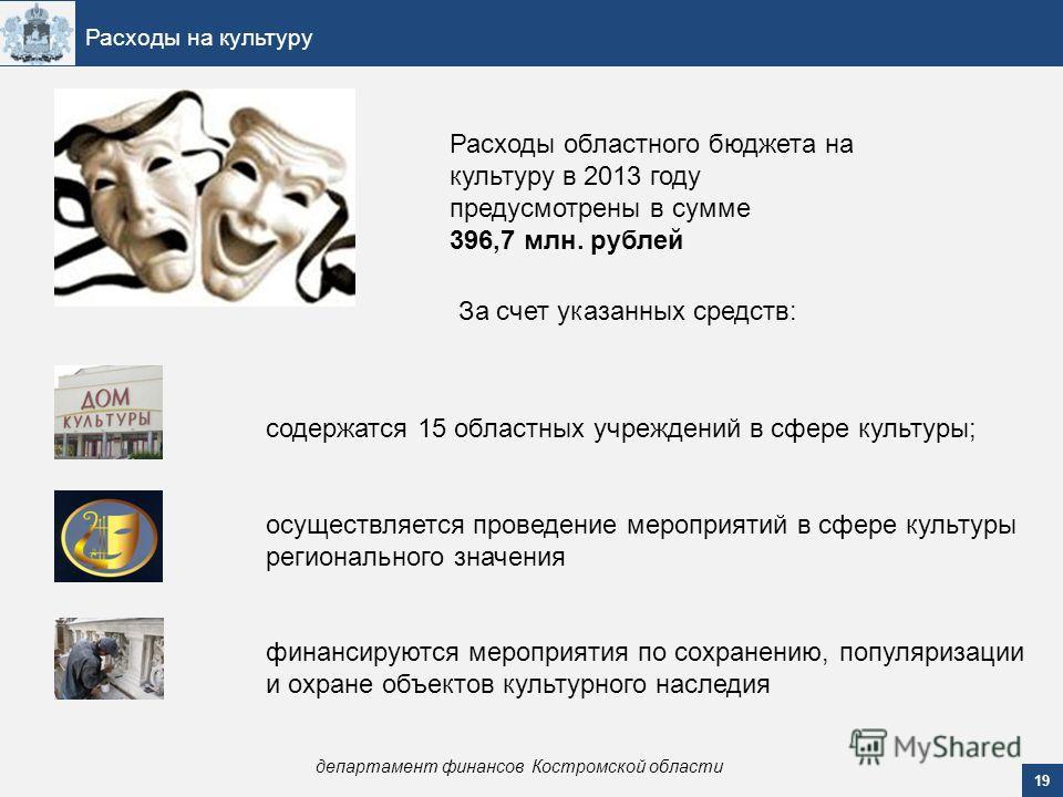 19 Расходы на культуру департамент финансов Костромской области Расходы областного бюджета на культуру в 2013 году предусмотрены в сумме 396,7 млн. рублей За счет указанных средств: содержатся 15 областных учреждений в сфере культуры; осуществляется