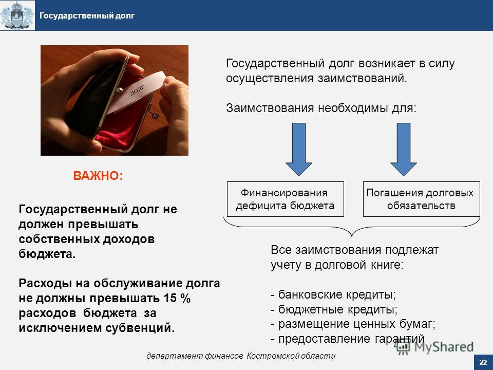 Государственный долг 22 департамент финансов Костромской области Государственный долг возникает в силу осуществления заимствований. Заимствования необходимы для: Все заимствования подлежат учету в долговой книге: - банковские кредиты; - бюджетные кре