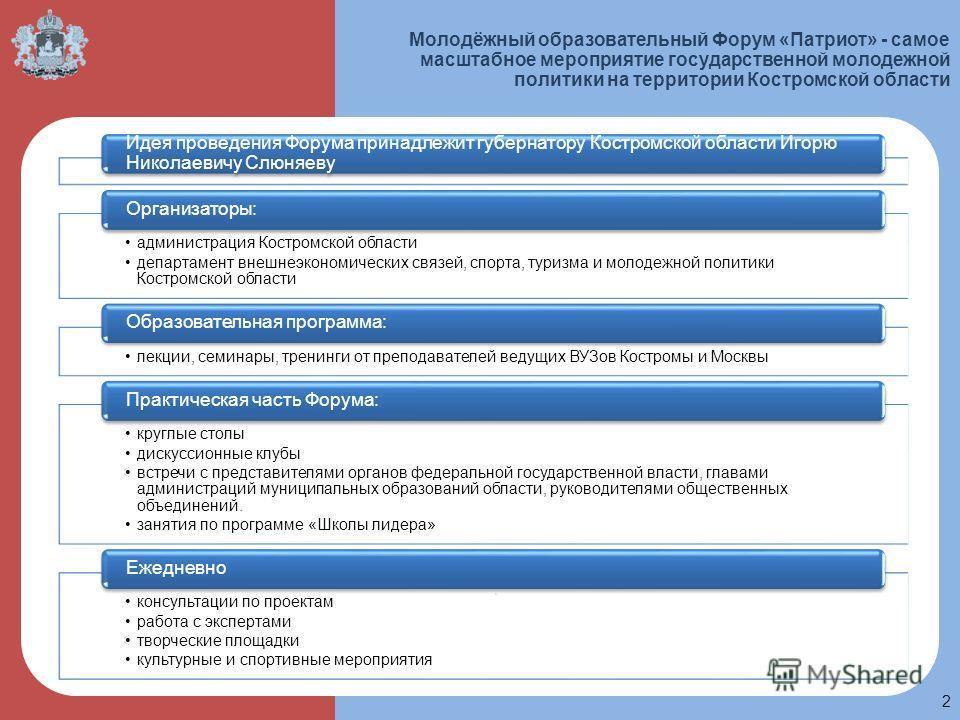 Молодёжный образовательный Форум «Патриот» - самое масштабное мероприятие государственной молодежной политики на территории Костромской области 2. Идея проведения Форума принадлежит губернатору Костромской области Игорю Николаевичу Слюняеву администр