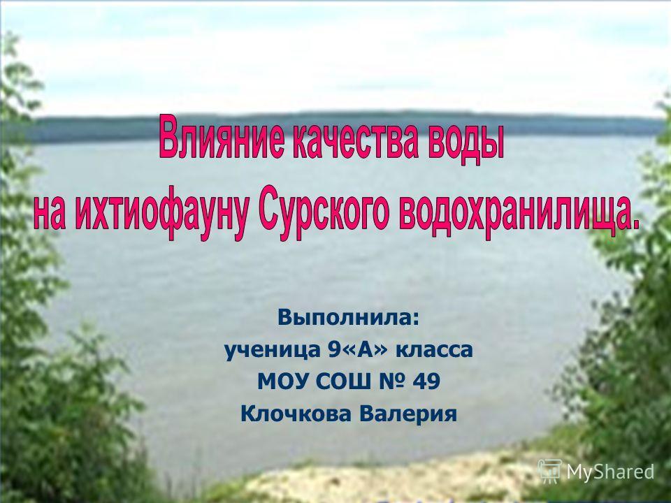 Выполнила: ученица 9«А» класса МОУ СОШ 49 Клочкова Валерия