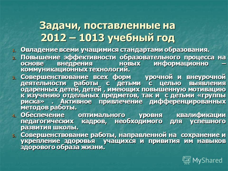 Задачи, поставленные на 2012 – 1013 учебный год 1. Овладение всеми учащимися стандартами образования. 2. Повышение эффективности образовательного процесса на основе внедрения новых информационно – коммуникационных технологий. 3. Совершенствование все