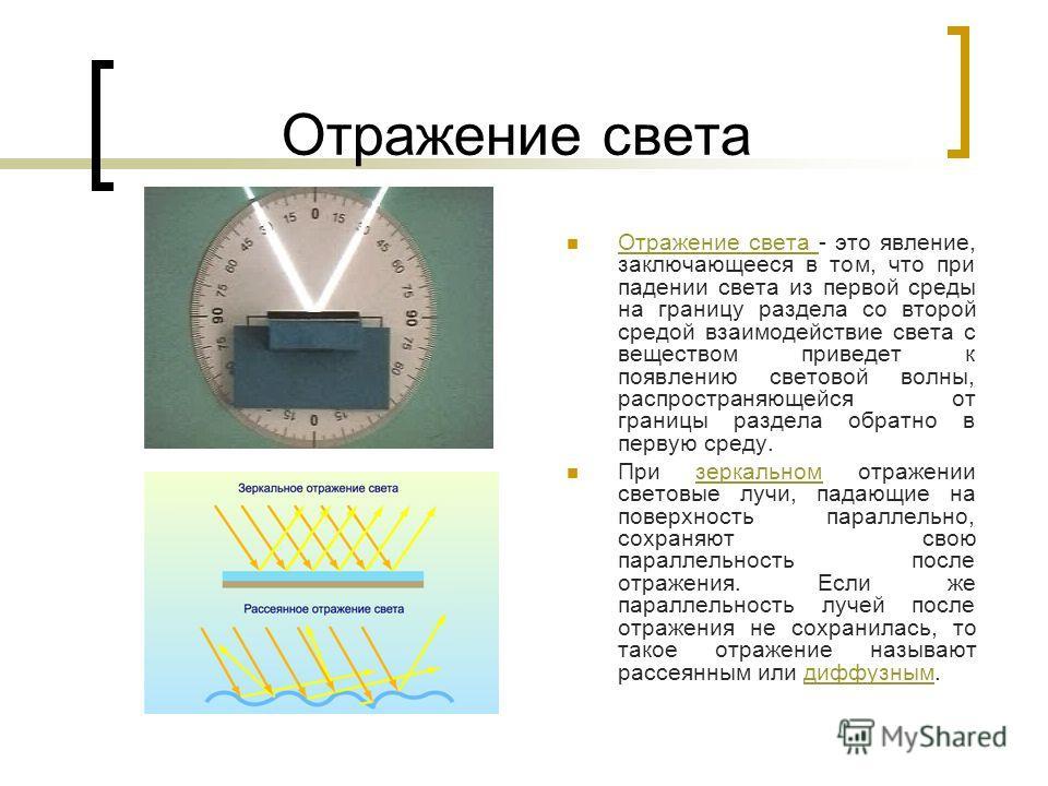 Отражение света Отражение света - это явление, заключающееся в том, что при падении света из первой среды на границу раздела со второй средой взаимодействие света с веществом приведет к появлению световой волны, распространяющейся от границы раздела