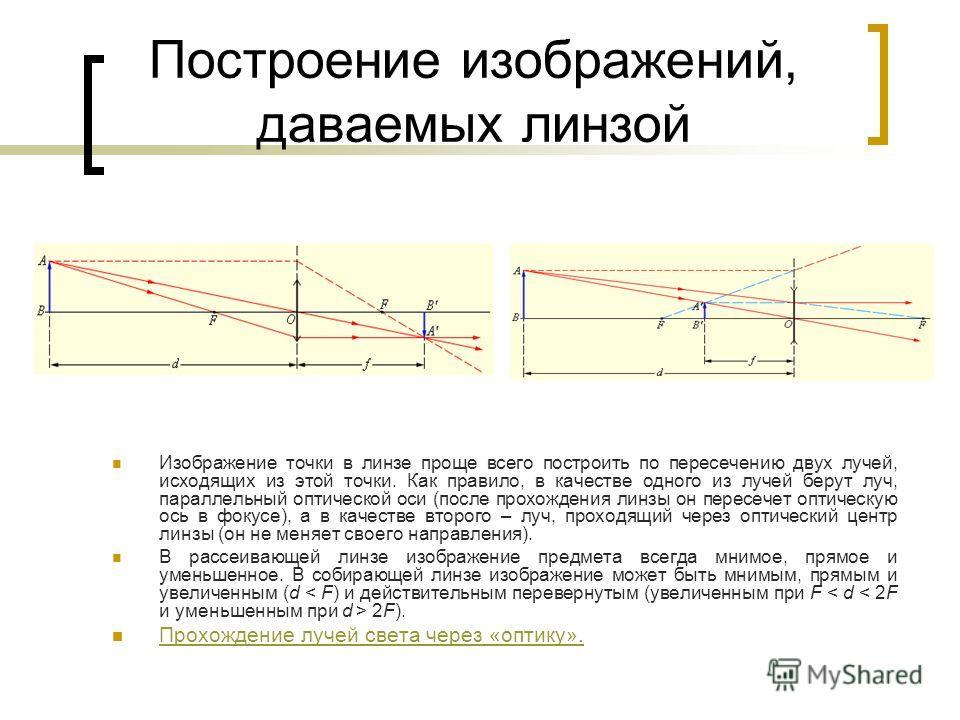 Построение изображений, даваемых линзой Изображение точки в линзе проще всего построить по пересечению двух лучей, исходящих из этой точки. Как правило, в качестве одного из лучей берут луч, параллельный оптической оси (после прохождения линзы он пер