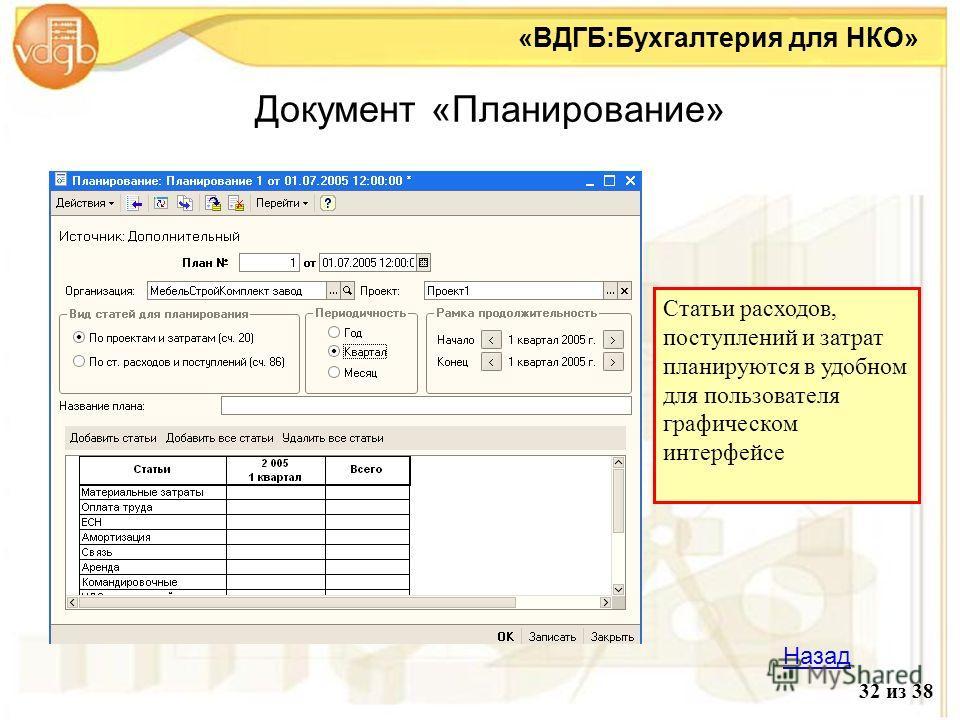 Документ «Планирование» «ВДГБ:Бухгалтерия для НКО» 32 из 38 Назад Статьи расходов, поступлений и затрат планируются в удобном для пользователя графическом интерфейсе