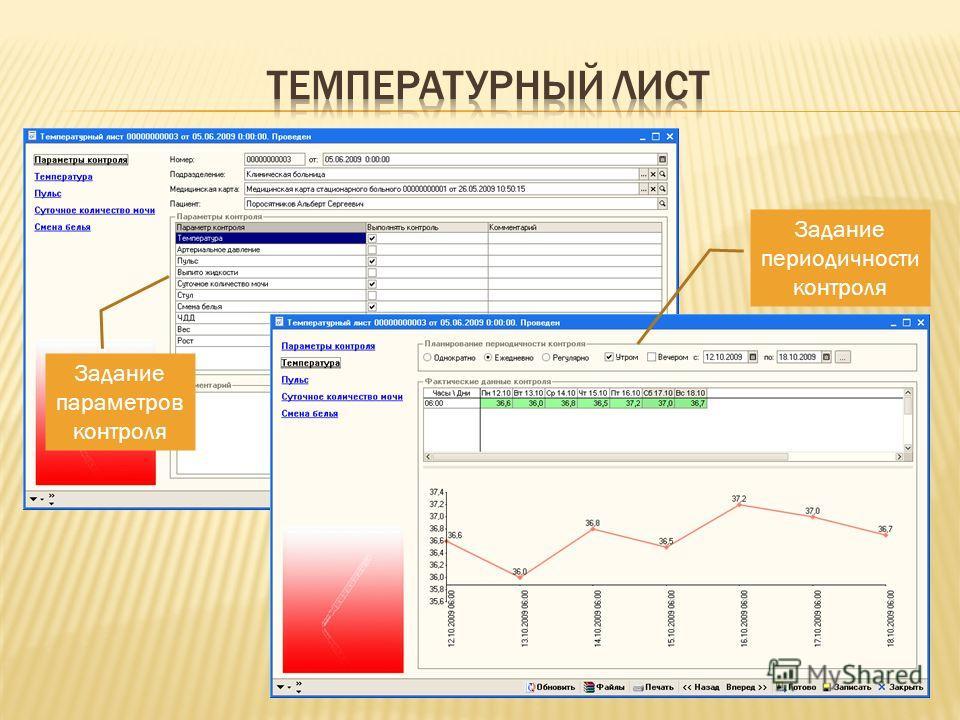 Задание параметров контроля Задание периодичности контроля