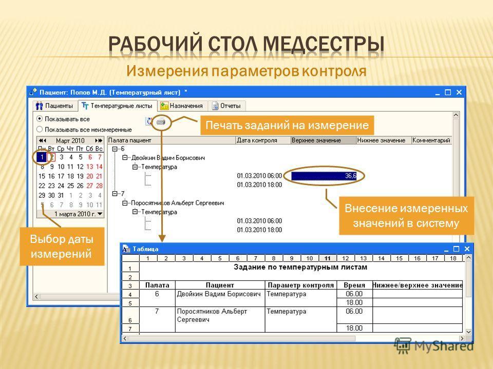 Выбор даты измерений Печать заданий на измерение Измерения параметров контроля Внесение измеренных значений в систему