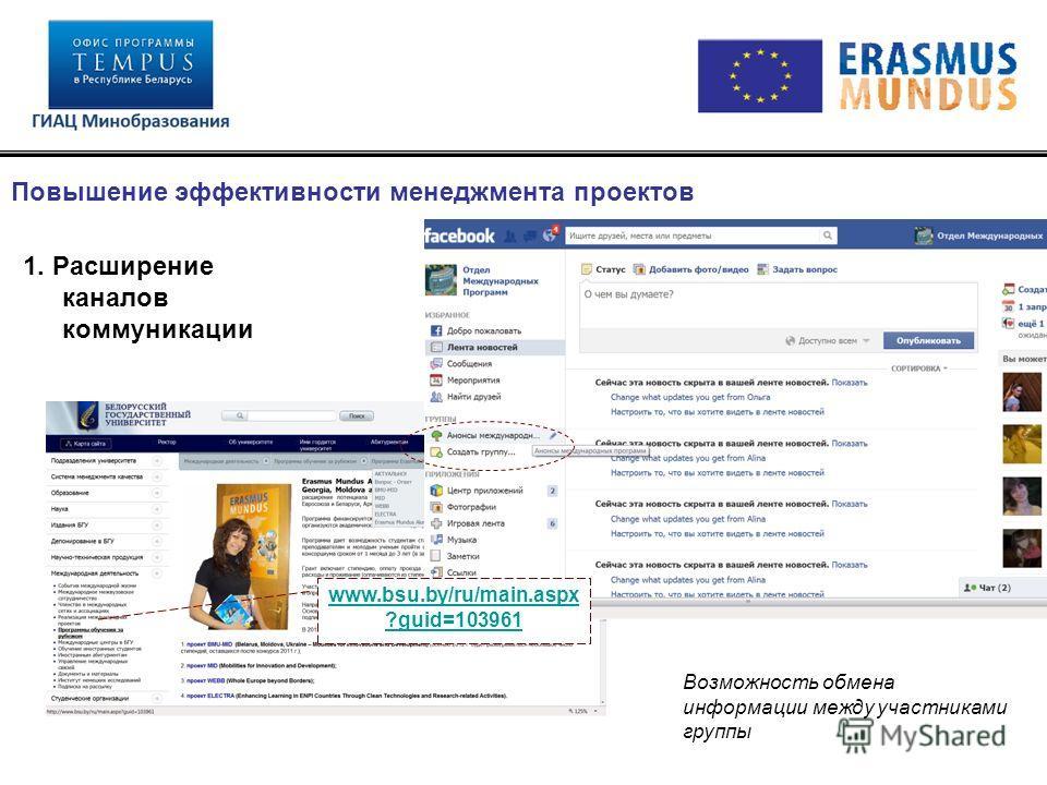 1. Расширение каналов коммуникации Повышение эффективности менеджмента проектов www.bsu.by/ru/main.aspx ?guid=103961 Возможность обмена информации между участниками группы