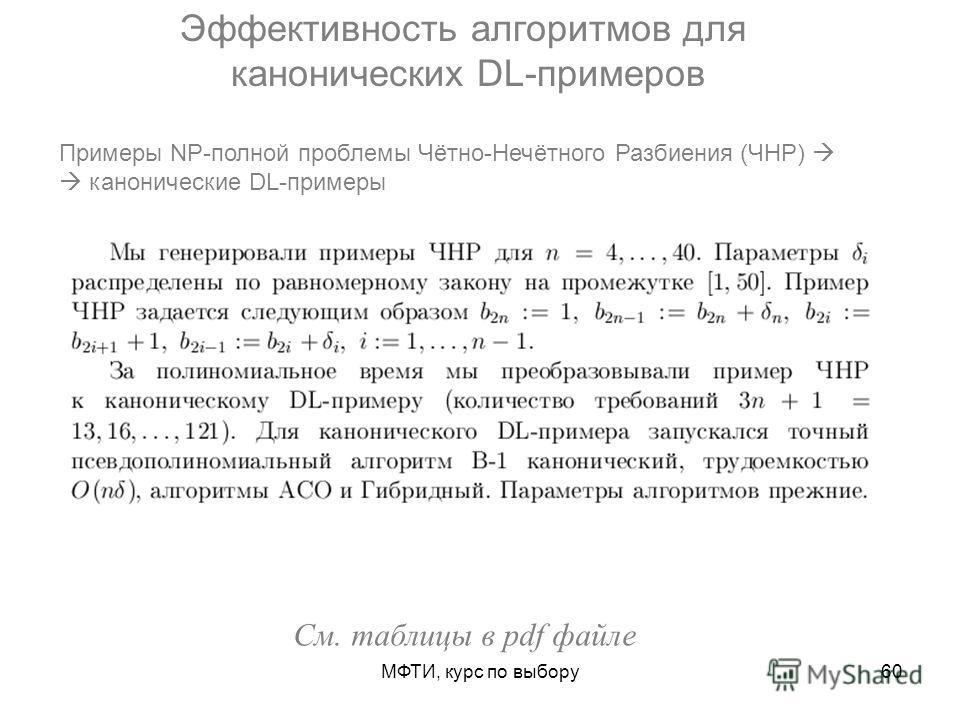 МФТИ, курс по выбору60 Эффективность алгоритмов для канонических DL-примеров Примеры NP-полной проблемы Чётно-Нечётного Разбиения (ЧНР) канонические DL-примеры См. таблицы в pdf файле