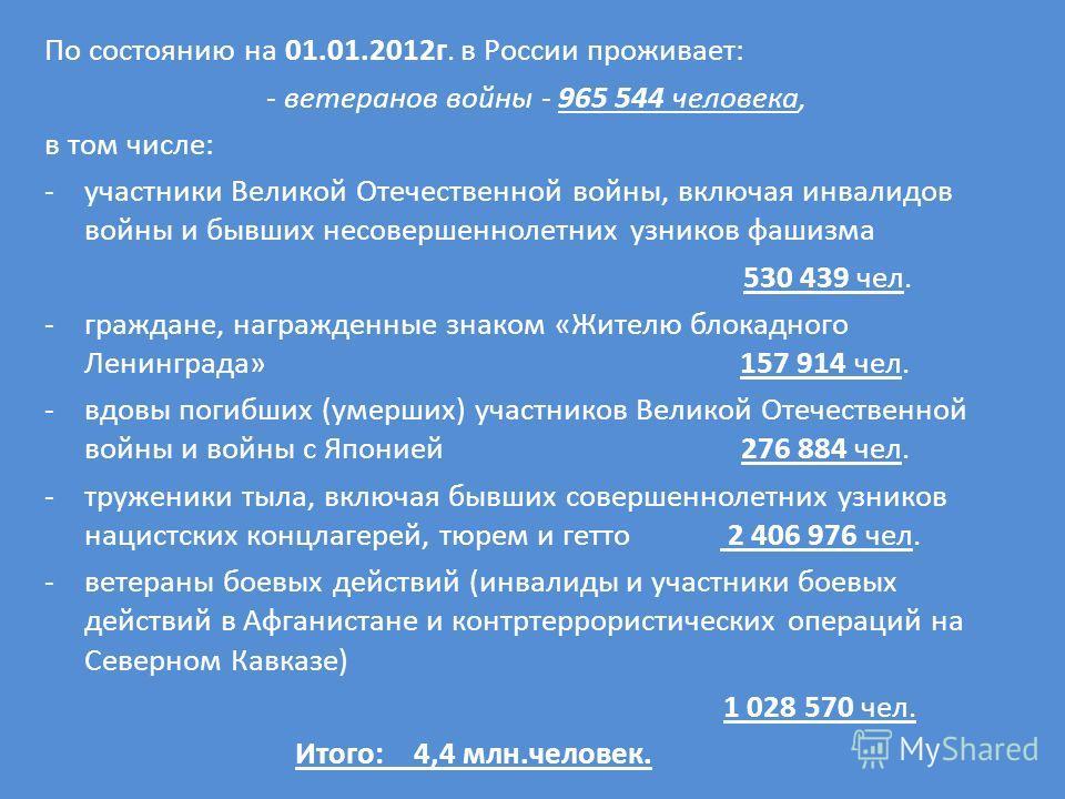 По состоянию на 01.01.2012г. в России проживает: - ветеранов войны - 965 544 человека, в том числе: -участники Великой Отечественной войны, включая инвалидов войны и бывших несовершеннолетних узников фашизма 530 439 чел. -граждане, награжденные знако