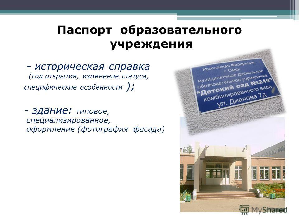 Паспорт образовательного учреждения - историческая справка (год открытия, изменение статуса, специфические особенности ); - здание: типовое, специализированное, оформление (фотография фасада)