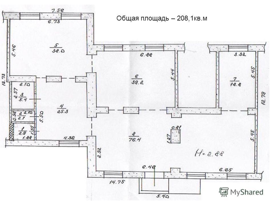Общая площадь – 208,1кв.м