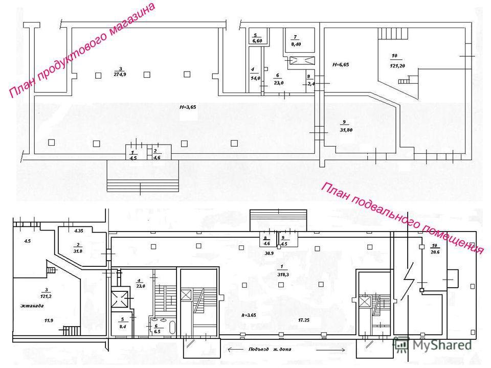 План продуктового магазина План подвального помещения
