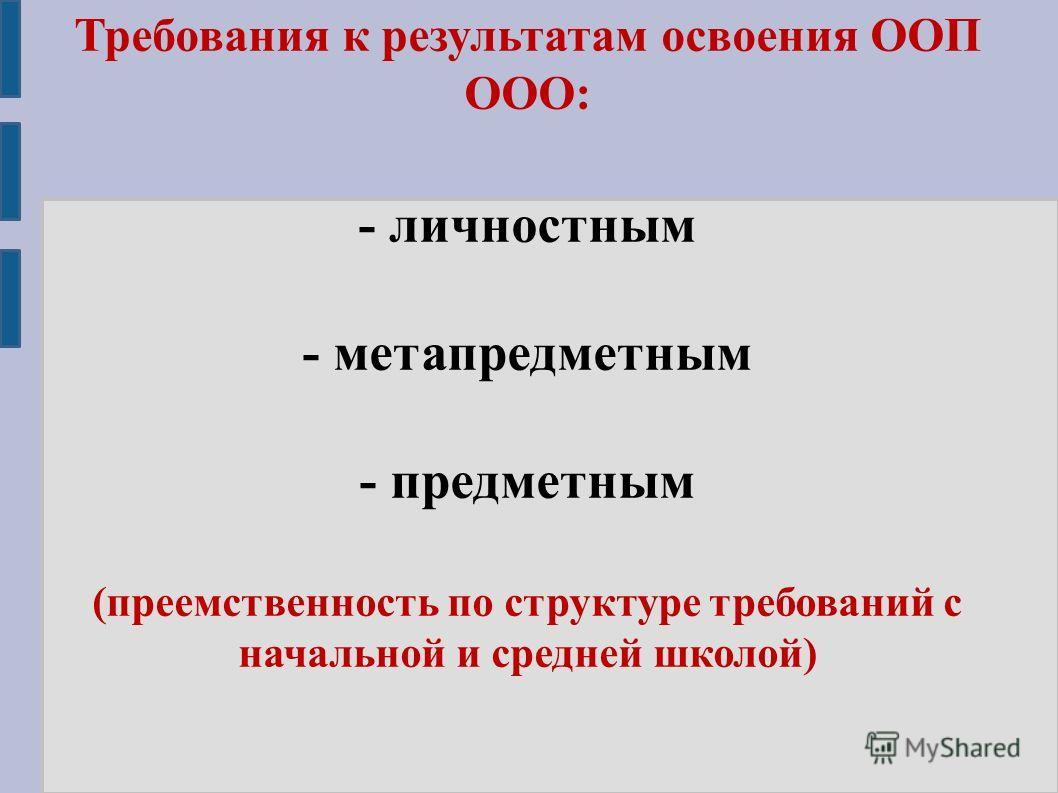 Требования к результатам освоения ООП ООО: - личностным - метапредметным - предметным (преемственность по структуре требований с начальной и средней школой)