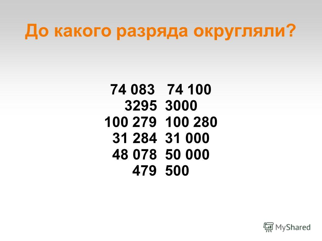 До какого разряда округляли? 74 083 74 100 3295 3000 100 279 100 280 31 284 31 000 48 078 50 000 479 500