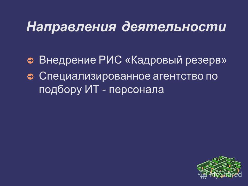 Направления деятельности Внедрение РИС «Кадровый резерв» Специализированное агентство по подбору ИТ - персонала
