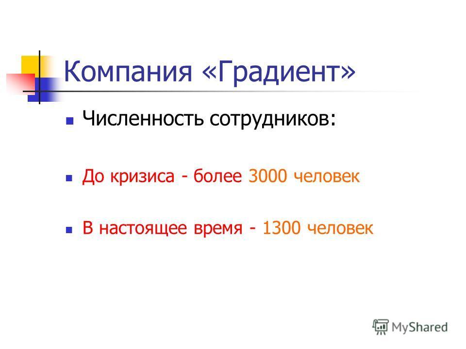 Численность сотрудников: До кризиса - более 3000 человек В настоящее время - 1300 человек