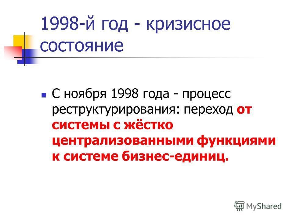 1998-й год - кризисное состояние С ноября 1998 года - процесс реструктурирования: переход от системы с жёстко централизованными функциями к системе бизнес-единиц.