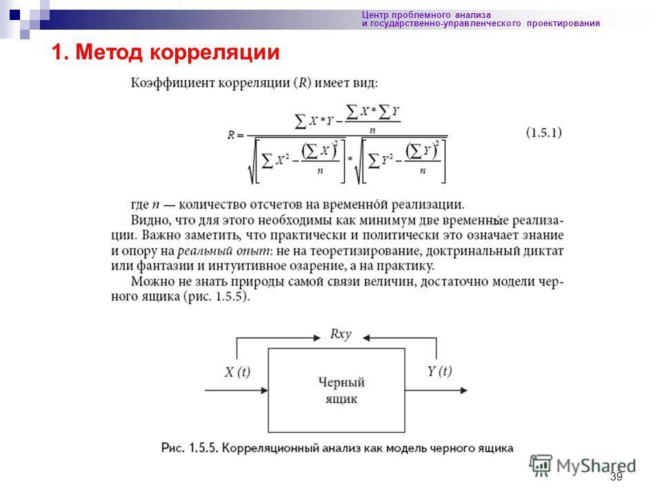 39 Центр проблемного анализа и государственно-управленческого проектирования 1. Метод корреляции