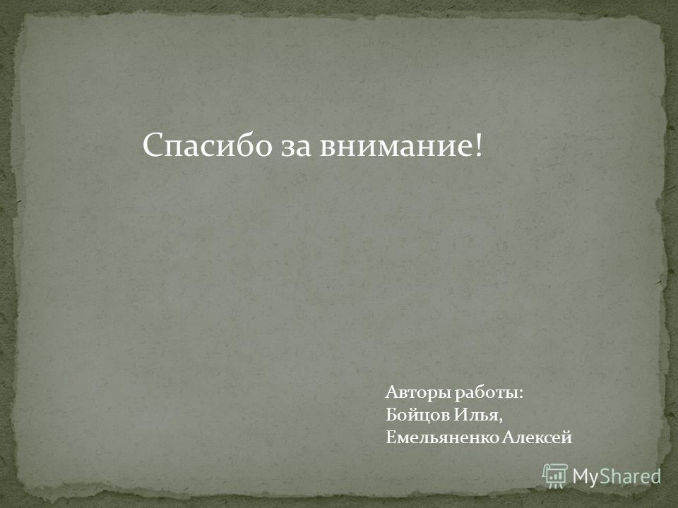 Спасибо за внимание! Авторы работы: Бойцов Илья, Емельяненко Алексей