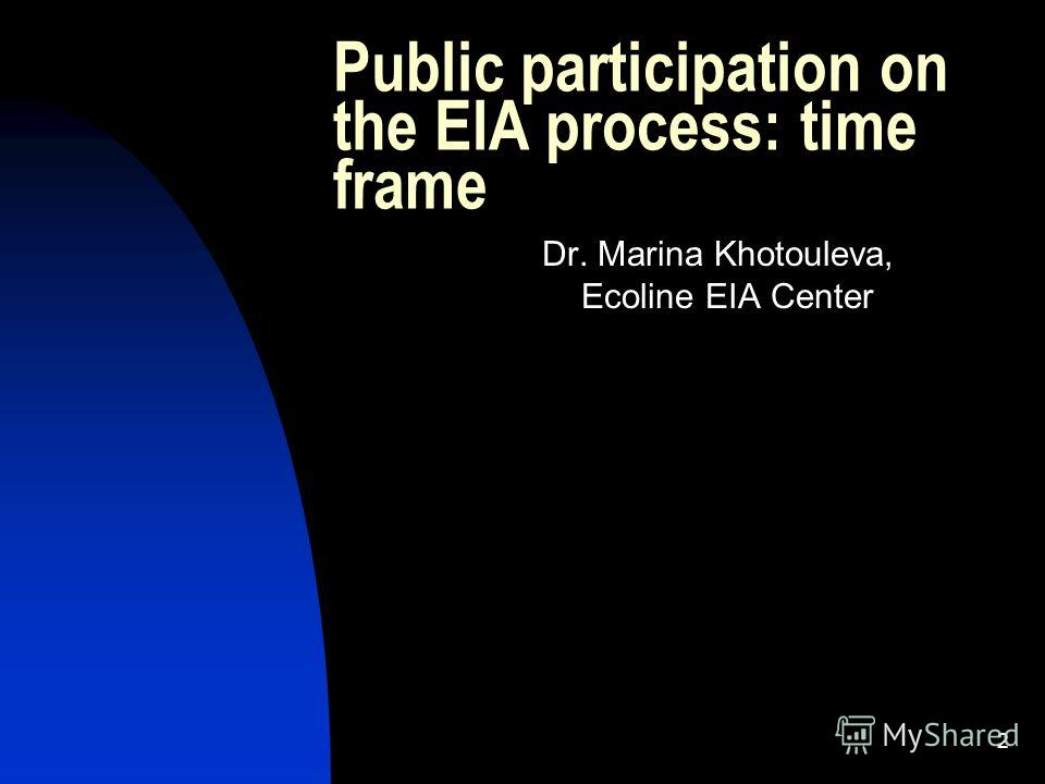 2 Public participation on the EIA process: time frame Dr. Marina Khotouleva, Ecoline EIA Center