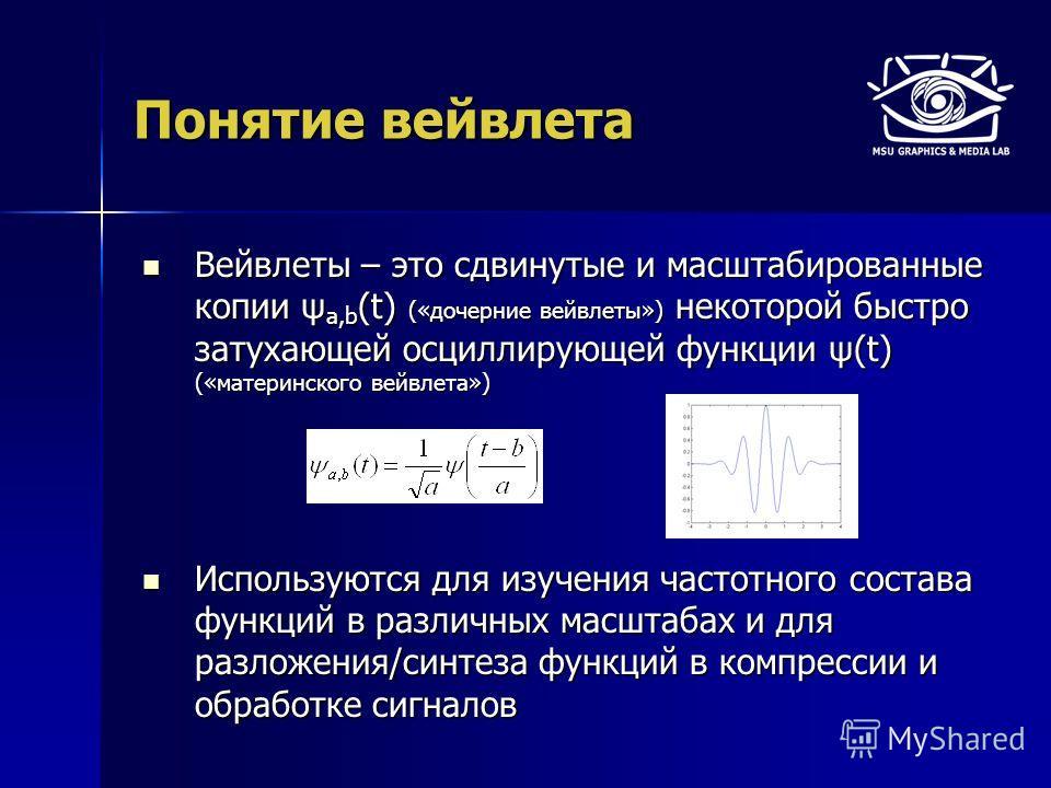 Понятие вейвлета Вейвлеты – это сдвинутые и масштабированные копии ψ a,b (t) («дочерние вейвлеты») некоторой быстро затухающей осциллирующей функции ψ(t) («материнского вейвлета») Вейвлеты – это сдвинутые и масштабированные копии ψ a,b (t) («дочерние