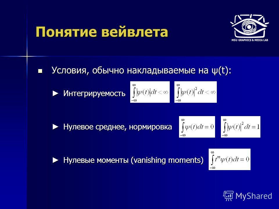 Понятие вейвлета Условия, обычно накладываемые на ψ(t): Условия, обычно накладываемые на ψ(t): Интегрируемость Интегрируемость Нулевое среднее, нормировка Нулевое среднее, нормировка Нулевые моменты (vanishing moments) Нулевые моменты (vanishing mome