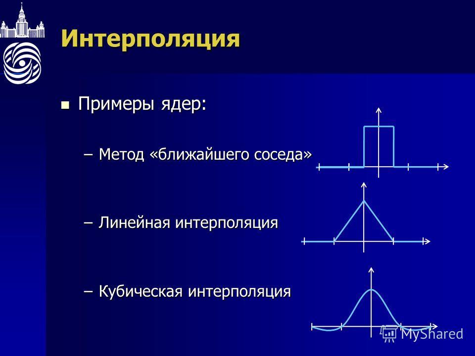 Интерполяция Примеры ядер: Примеры ядер: –Метод «ближайшего соседа» –Линейная интерполяция –Кубическая интерполяция