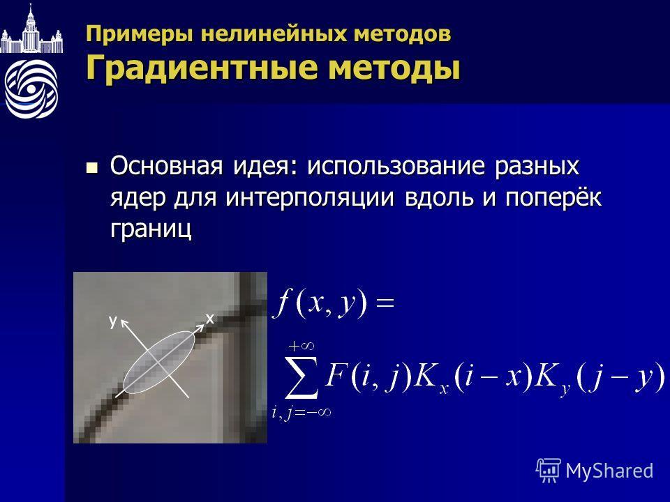 Примеры нелинейных методов Градиентные методы Основная идея: использование разных ядер для интерполяции вдоль и поперёк границ Основная идея: использование разных ядер для интерполяции вдоль и поперёк границ x y