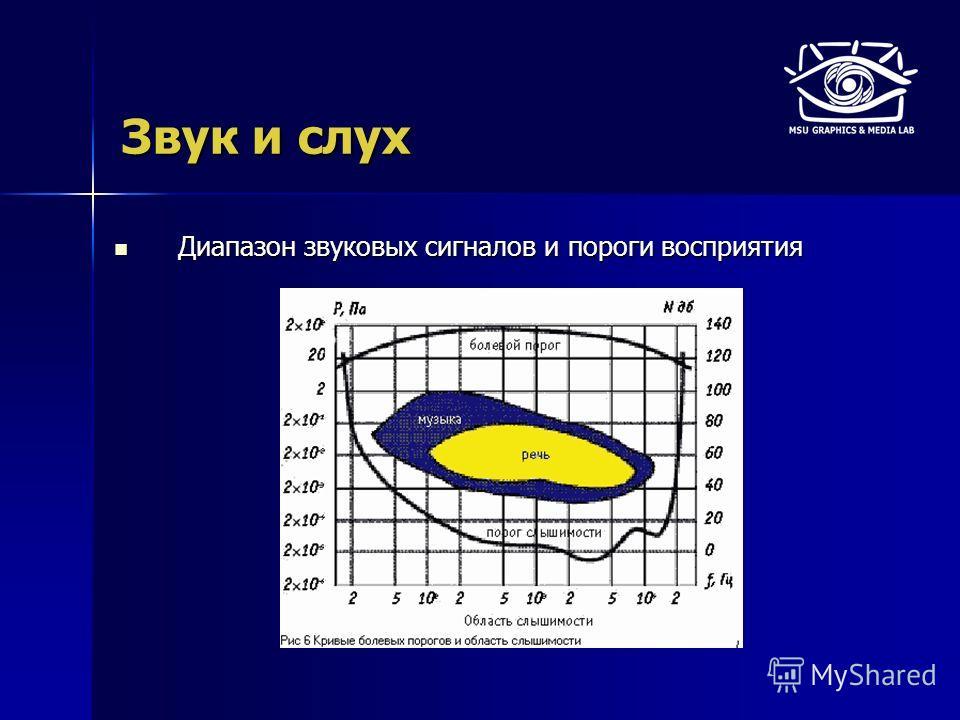 Звук и слух Диапазон звуковых сигналов и пороги восприятия Диапазон звуковых сигналов и пороги восприятия