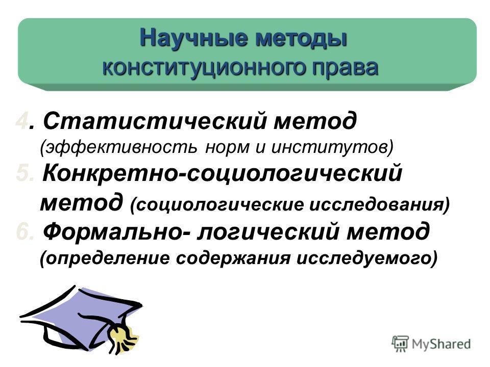 Научные методы конституционного права 4. Статистический метод (эффективность норм и институтов) 5. Конкретно-социологический метод (социологические исследования) 6. Формально- логический метод (определение содержания исследуемого)