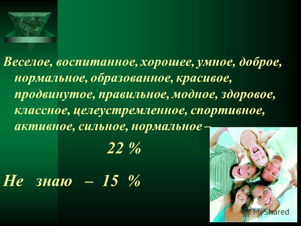 Веселое, воспитанное, хорошее, умное, доброе, нормальное, образованное, красивое, продвинутое, правильное, модное, здоровое, классное, целеустремленное, спортивное, активное, сильное, нормальное – 22 % Не знаю – 15 %