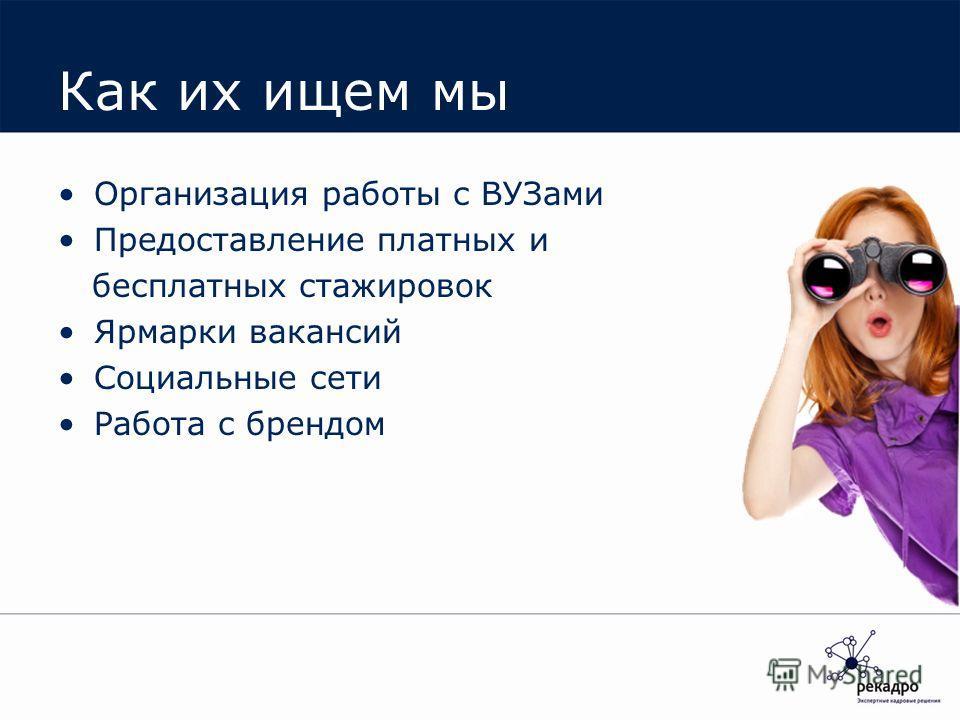 Как их ищем мы Организация работы с ВУЗами Предоставление платных и бесплатных стажировок Ярмарки вакансий Социальные сети Работа с брендом