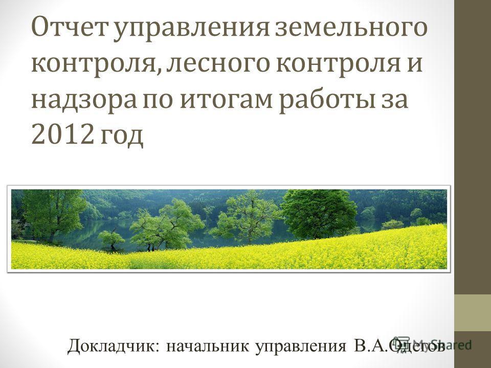 Отчет управления земельного контроля, лесного контроля и надзора по итогам работы за 2012 год Докладчик: начальник управления В.А.Одегов