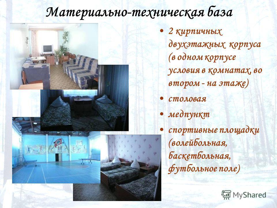 Материально-техническая база 2 кирпичных двухэтажных корпуса (в одном корпусе условия в комнатах, во втором - на этаже) столовая медпункт спортивные площадки (волейбольная, баскетбольная, футбольное поле)