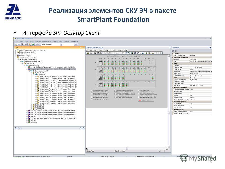 Реализация элементов СКУ ЭЧ в пакете SmartPlant Foundation Интерфейс SPF Desktop Client 22