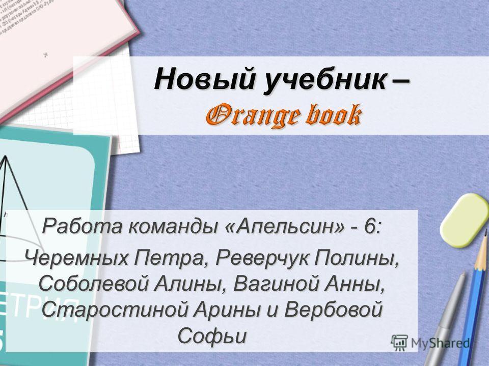 Работа команды «Апельсин» - 6: Черемных Петра, Реверчук Полины, Соболевой Алины, Вагиной Анны, Старостиной Арины и Вербовой Софьи
