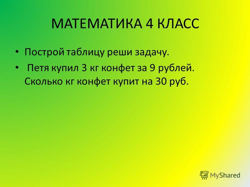 МАТЕМАТИКА 4 КЛАСС Построй таблицу реши задачу. Петя купил 3 кг конфет за 9 рублей. Сколько кг конфет купит на 30 руб.