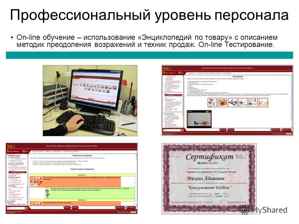 Профессиональный уровень персонала On-line обучение – использование «Энциклопедий по товару» с описанием методик преодоления возражений и техник продаж. On-line Тестирование.