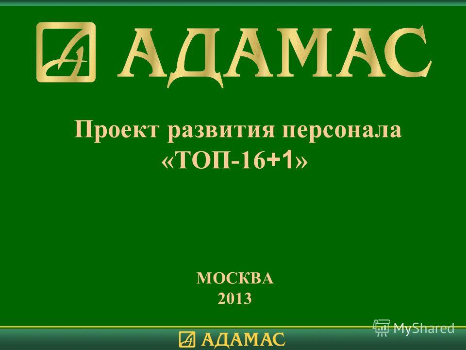 Проект развития персонала «ТОП-16 +1 » МОСКВА 2013